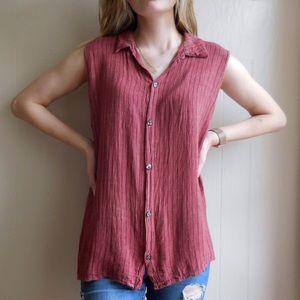 CP Shades Linen Striped Sleeveless Button Down Top